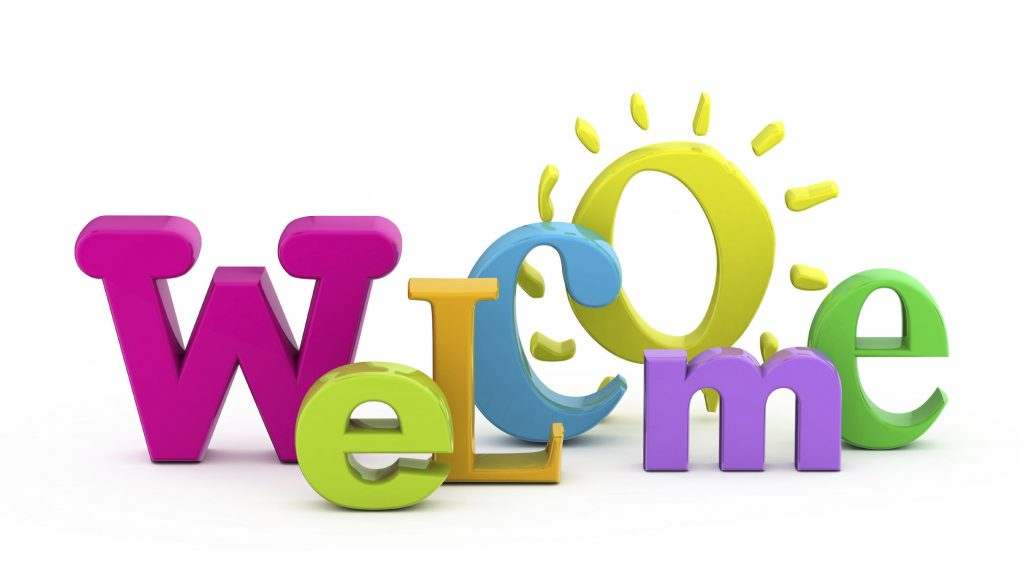 """word """"welcome"""" in colorful, 3D letters"""