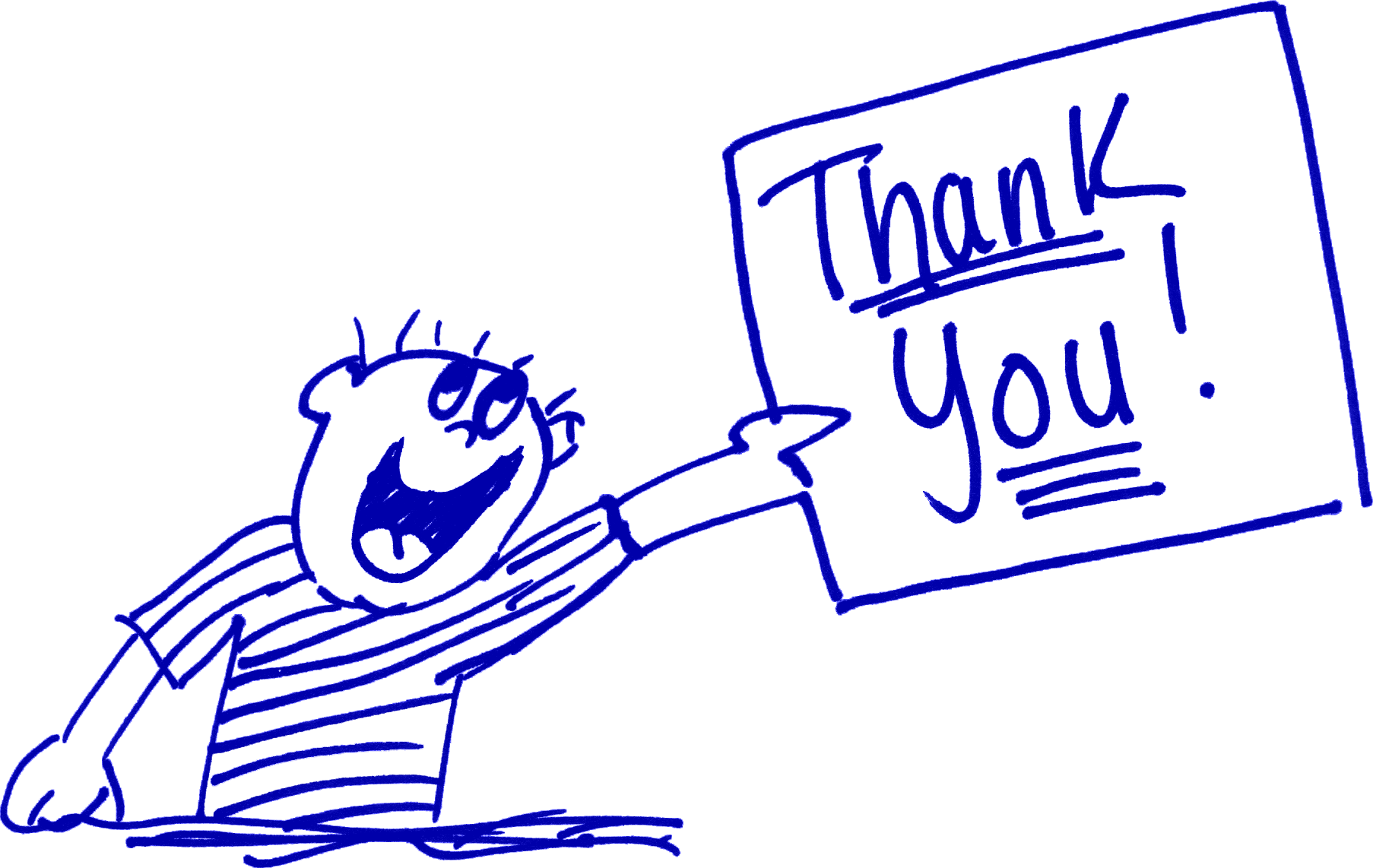 cartoon kid holding Thank You! sign